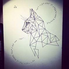 Geometric Cat Tattoo, Geometric Drawing, Geometric Art, Tattoo Abstract, Geometric Animal, Geometric Sleeve, Geometric Designs, Trendy Tattoos, New Tattoos