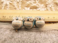10 pcs adorable blue little eye owl beads by fancinybeads on Etsy