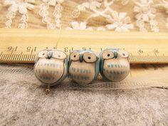 10 pcs adorable blue little eye owl beads by fancinybeads on Etsy