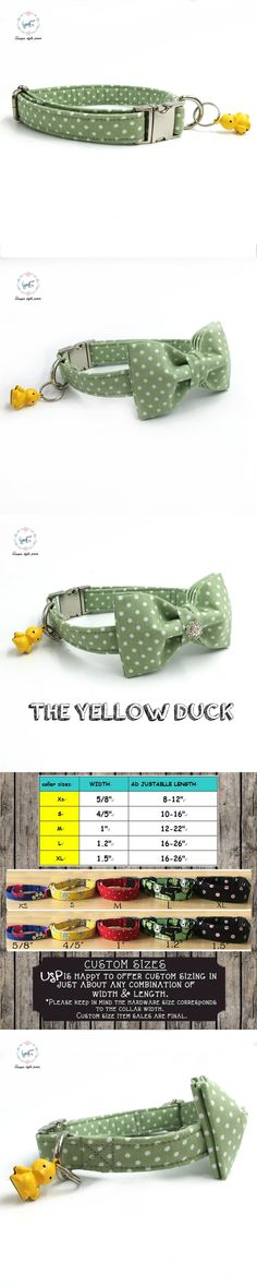 the green dot  dog collar with bow tie and bell personal custom pet pupply designer product dog &cat necklace XS-XL