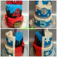Two sided Spiderman and Frozen cake for a brother and sister birthday.
