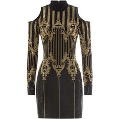 Balmain Embellished Dress found on Polyvore featuring dresses, multicolor, colorful cocktail dresses, multi color dress, studded dress, slimming dresses and multi-color dress