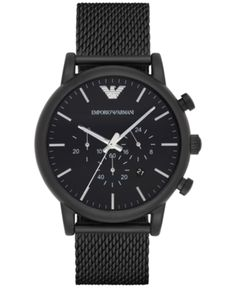 9ffed3ed6398 Emporio Armani Men Chronograph Black Stainless Steel Mesh Bracelet Watch  46mm AR1968