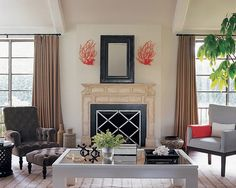 grey velvet and coral ~ mix & match chairs