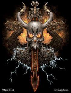 Discover Mens Vikings Shirts American Heathen Sweatshirt from Viking Online, a custom product made just for you by Teespring. Dark Artwork, Skull Artwork, Dragon Sword, Dragon Art, Viking Power, Skull Pictures, Metal Skull, Skull Wallpaper, Dark Fantasy Art