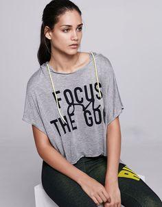 Sport hooded text print T-shirt - T- Shirts - Bershka United Arab Emirates