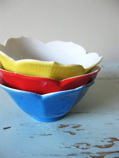 Vintage Flower Bowls by Swoonshop on Etsy, $12.00