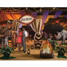 Wild Safari Dreams Theme Kit - With the Right Help you can transform Your Reception into a Beautiful Safari Oasis! - Our Wild Safari Dreams Theme Kit features a giraffe, elephants, an arch with a personalized sign and more! This decorating kit has it all and will turn your venue into a remote location with an abundance of wildlife.