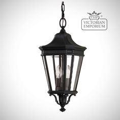 Buy Cotswold Medium chain lantern in Black, Exterior ceiling lights - Black medium chain lantern with classic styling and panes in clear bevelled glass. Antique gas lantern-inspired, these die...