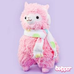 Alpacasso Plush with Scarf and Earmuffs - Medium / Pink
