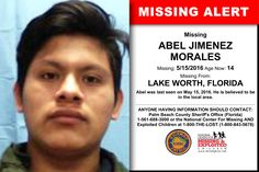 ABEL JIMENEZ MORALES, Age Now: 14, Missing: 05/15/2016. Missing From LAKE WORTH, FL. ANYONE HAVING INFORMATION SHOULD CONTACT: Palm Beach County Sheriff's Office (Florida) 1-561-688-3000.