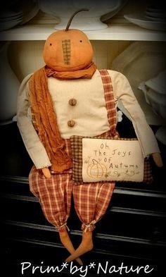 Primitive Folk Art Pumpkin Doll Autumn Fall Decor