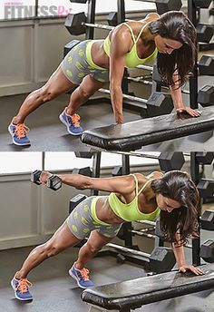 Get ARMed for Fall: Bench Plank Rear Lateral Raise. Shape shoulders & tighten core!