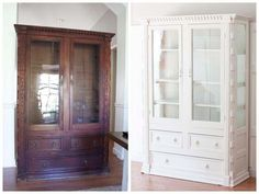 Mahogany China Cabinet Makeover - tips on sealing before paint Mahogany Furniture, Refurbished Furniture, Home Decor Furniture, Dining Furniture, Furniture Makeover, Upcycled Furniture, Furniture Projects, Painted Furniture, China Cabinet Redo