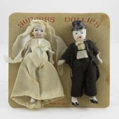Vintage Miniature Bride and Groom Dolls on Original Card from shrimpleys on Ruby Lane
