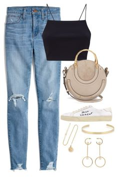 """Untitled #4762"" by magsmccray on Polyvore featuring Madewell, Chloé, Yves Saint Laurent, Grace Lee Designs and Jennifer Fisher"