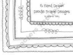 Hand drawn doodle frames for worksheets, projects, and more!