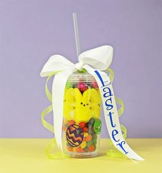 """Use a plastic tumbler to create an """"Easter Basket."""" the boys love having their own """"adult"""" cups this is way more practical than another basket that ends up in the attic! Hoppy Easter, Easter Bunny, Easter Eggs, Easter Table, Easter Party, Easter Gift, Easter Decor, Holiday Fun, Holiday Crafts"""