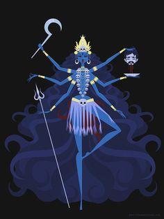 Kali by by Nikkie Stinchcombe / Little Paper Forest. Hindu Goddess of Time, Change, Power and Destruction. Kali Goddess, Goddess Art, Kali Ma, Desenho Tattoo, Egyptian Art, Egyptian Goddess, Gods And Goddesses, Indian Art, Art Inspo