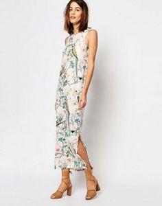 Warehouse Bird Print Column Midi Dress