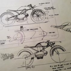 downshiftstudio: CAD + Analog hand sketches. This bike will be built around an old #motobi motor. Still studying which direction to take it… #motonerd #design #sketch #cad #motorcycle #caferacer #illustration #silodrome #croig #bikeexif