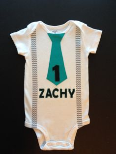 Personalized Birthday Chevron Baby Boy Tie bodysuit or T-shirt with suspenders-  First Birthday Boy Outfit