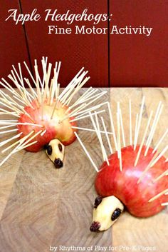 This apple hedgehog fine motor activity is a great way for kids to have fun while developing the fine motor muscles in the hand. These only take a few minutes to set up, and you end up with the cute little guys above.