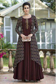 Redefined brown embroidered gown suit online which is crafted from tussar silk fabric with exclusive digital pints. Designer Kurtis, Designer Gowns, Indian Designer Wear, Stylish Dresses, Fashion Dresses, Gown With Jacket, Jacket Style, Silk Jacket, Kurti With Jacket