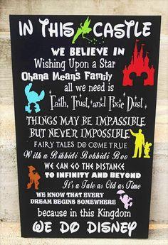 In this House We Do Disney Disney Decor Disney wood sign Disney movies Disne Disney Cruise, Disney T-shirts, Disney Memes, Disney Quotes, Cute Disney, Disney Trips, Disney Ideas, Disney Cartoons, Disney Stuff