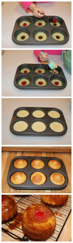 Muffin Tin Pineapple Upside Down Cake Recipes ~ These individually sized upside down cakes are so yummy! Made from scratch, but easy to make, you will never need another recipe.