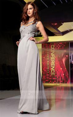 2013 Princess Floor-length One Shoulder Backless Chiffon Silver Prom Dresses