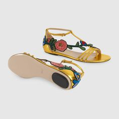 Gucci Embroidered metallic leather sandal Detail 5