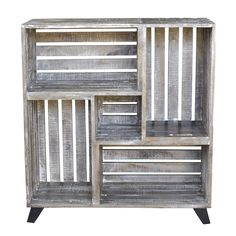Light worn mango wood and a DIY look make this reclaimed crates bookcase a must have. This is the perfect piece for books, pictures or knick knacks you may want to show off. At 40 inches tall it goes