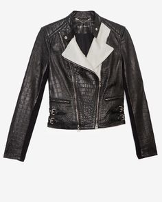 Yigal Azrouel Two Tone Croc Embossed Leather Jacket