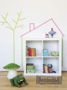 Best diy home decor for kids room washi tape Ideas Washi Tape Wall, Tape Wall Art, Masking Tape, Washi Tapes, Mt Tape, Kids Decor, Diy Home Decor, Room Decor, Nursery Decor