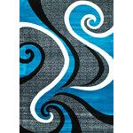 Abstract Turquoise Area Rug