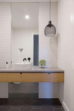 Modern Scandinavian Bathroom White Hexagon Sheets And Slate Grey