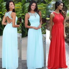 Women Fashion Cocktail Party Evening Maxi Dress Chiffon Summer Beach Lace Gown