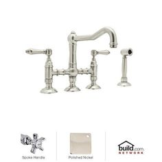 $806.25 9.9 height, 8.8 reachView the Rohl A1458XWSPN-2 Polished Nickel Country Kitchen Three Leg Bridge Faucet with Five Spoke Handles and Side Spray at Build.com.