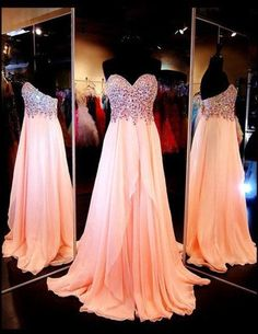 Beading prom dress,sweetheart floor-length evening dress.Pretty color and shiny beads ,i love it!