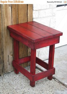 Sale Medium RED End Table, Side Table, Nightstand, Other colors available! Reclaimed Wood Furniture, Diy Pallet Furniture, Furniture Projects, Rustic Furniture, Wood Projects, Painted Furniture, Balcony Furniture, Furniture Buyers, Western Furniture