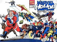 """This comic book cover is very unique because it is a """"holiday special"""" where Marvel brings in Santa to its overall cover. If you just look at the cover it makes you wonder what all of the heroes are all pointing/looking at in which then you would turn to the back cover and understand. There is a bit of dialogue on the cover which can help as to what is in the issue."""