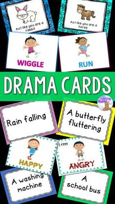 These 5 sets of drama cards can be used for drama, dance, physical education, brain breaks, or even Drama Activities, Drama Games, Art Activities For Kids, Drama Teacher, Drama Class, Drama Drama, Drama School, Drama Education, Physical Education