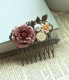 A Woodland Wedding A Red Rose Flower Vintage Style by Marolsha, $29.50    Pretty sure i HEART this ....love the old time feel...i want!