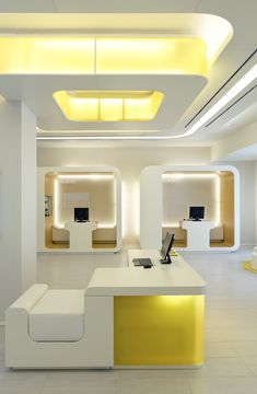 Millenium   New bank Design by Mediobanca Group back to essential and simplicity under the warmth and yellow of the sun in a technological but friendly environment