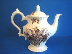 Vintage Teapot Bountiful Myott Staffordshire England Brown White Transferware #Staffordshire
