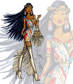 Hayden Williams Fashion Illustrations: Disney Diva Fashionistas by Hayden Williams: Pocahontas Hayden Williams, Arte Fashion, Fashion Models, Girl Fashion, Paper Fashion, Disney Fashion, Vogue Fashion, Trendy Fashion, Fashion Model Drawing