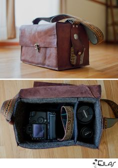 Handmade leather camera bag. should try this... i need a knew one