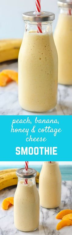 This peach banana and honey smoothie is a perfect snack or breakfast for kids and adults. A secret ingredient gives an extra boost of protein! Get the easy recipe on RachelCooks.com