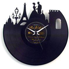 Vinyluse Paris Clock ($43) ❤ liked on Polyvore featuring home, home decor, clocks, random, parisian home decor and paris home decor